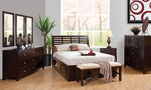 Park Avenue Bedroom Furniture Collection|Park Avenue Queen Storage Bed, 66in Dresser with triple mirror, 2 Drawer Nightstand, Man's Chest, Bedseat|Solid Brown Maple in Rich Tobacco OCS228|The Amish Home|Amish Furniture at the Pittsburgh Mills