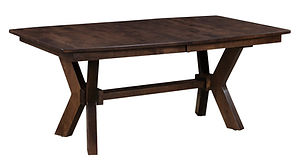 Bradley Trestle Table | Shown with boat top, eased edge. Butterfly leaf available. | Brown Maple in Asbury OCS117 | Many Sizes Available | The Amish Home | Amish Furniture at the Pittsburgh Mills