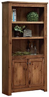 Writer's  Series Bookcase with bottom doors | Rustic Cherry in Driftwood OCS135 | 36 1/2in W x 12 1/2in D x 73 1/2in H | The Amish Home | Amish Furniture at the Pittsburgh Mills