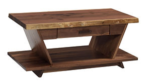 Junction Coffee Table | 1 1/2in Live Edge Top. Sides of table angle up and out to make a V shape. One drawer and open shelf. | Rustic Walnut in Natural OCS100 | 42in W x 22in D x 18in H | The Amish Home | Amish Furniture at the Pittsburgh Mills