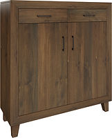 Conway Pie Safe with two doors and two drawers | with two adjustable shelves | Brown Maple in Cocoa OCS122 | 48in W x 16in D x 51in H | The Amish Home | Amish Furniture at the Pittsburgh Mills