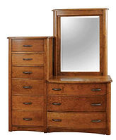 Traditional Chesser | Oak in Seely OCS104 | 58in W x 20 3/4in D x 63 1/2in H | The Amish Home | Amish Furniture at the Pittsburgh Mills