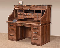 David's Deluxe Roll Top Desk with Live Edge and Drawers on Top | Rustic Walnut in Natural OCS100 | 62in W x 30in D x 51 1/2in H | The Amish Home | Amish Furniture at the Pittsburgh Mills