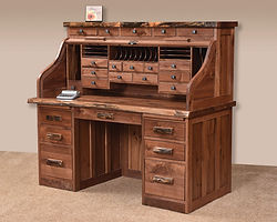 Deluxe Roll Top Desk with Live Edge and Drawers on Top|Rustic Walnut in Natural OCS100|62in W x 30in D x 51 1/2in H|The Amish Home|Amish Furniture at the Pittsburgh Mills