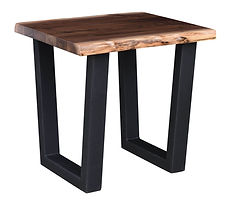Milford Live Edge Industrial Style End Table with metal base|Walnut Live Edge in Natural OCS100|22in W x 26in D x 25in H|The Amish Home|Amish Furniture at the Pittsburgh Mills