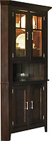 Larkspur Corner Hutch|Brown Maple in Onyx OCS230|in W x in D x 83in H, 32 1/2in wall space|The Amish Home|Amish Furniture at the Pittsburgh Mills