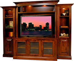 Berlin Entertainment Center | Rustic Cherry in Boston OCS111 | 109 1/2in W x 18 1/4in D x 85in H | The Amish Home | Amish Furniture at the Pittsburgh Mills