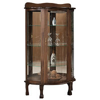 Mirror Back Curio | 3 adjustable glass shelves with plate groove, mirror back, clear glass, LED touch light, brass pull with lock, door hinged right | Cherry in Traditional OCS114 | 34in W x 16in D x 60in H | The Amish Home | Amish Furniture at the Pittsburgh Mills