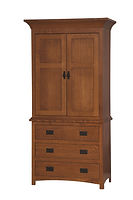 Michael's Mission Armoire|Quartersawn White Oak in Michaels OCS113|40 1/2in W x 21 1/2in D x 80in H|The Amish Home|Amish Furniture at the Pittsburgh Mills