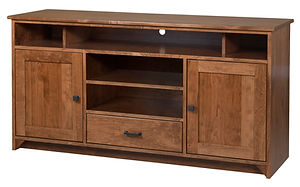 Nelson's Economy Shaker TV Stand with two doors and one drawer | Rustic Cherry in S-14 OCS108 | 60in W x 18in D x 30in H | The Amish Home | Amish Furniture at the Pittsburgh Mills