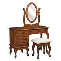 Queen Anne Jewelry Dressing Table | 6 drawers, 1 with ring bar, 2 with wooden dividers, 3 with velvet bottom. Pull-out wing with 7 jewelry hooks. Full extension drawer slides. Optional hidden drawer available. | Oak in Michaels OCS113 | 42in W x 17 1/2in D x 30 1/2in H | The Amish Home | Amish Furniture at the Pittsburgh Mills