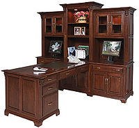 Ray's Executive Partner's Desk | Cherry in Asbury OCS117 | 101in W x 91 1/2in D x 78in H | The Amish Home | Amish Furniture at the Pittsburgh Mills