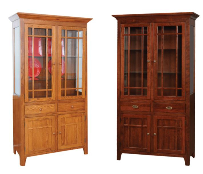 Amish oak china cabinet and rustic china cabinet - river banks two door size