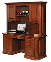 Buckingham Credenza Desk with Hutch|Cherry in Washington OCS107|69 1/4in W x 23 1/2in D x 77 1/2in H|The Amish Home|Amish Furniture at the Pittsburgh Mills