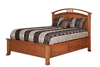 Crescent Panel Storage Bed|Cherry in S-9 OCS108|Headboard 58in H, footboard 20in H|The Amish Home|Amish Furniture at the Pittsburgh Mills