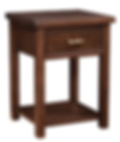 Timbermill Nightstand Basic - with 1 Drawer and Open Shelf | One inset drawer, open bottom shelf. 1 1/2inch solid top with softened front edge, beaded trim on drawers, flat inset panel sides, antique brushed satin brass hardware. | Rustic Cherry in Kona FC-3030 | 22in W x 20 1/4in D x 30in H | The Amish Home | Amish Furniture at the Pittsburgh Mills