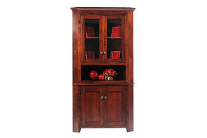 Newport Shaker Corner Hutch|Rustic Cherry in Michaels OCS113|34in W x 30in D x 79in H|The Amish Home|Amish Furniture at the Pittsburgh Mills Amish Dining Solutions