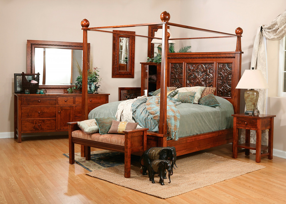 Canopy bed with tin panels