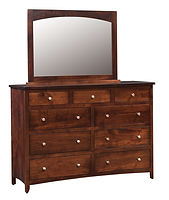 Roxbury Mule Dresser & Mirror|Brown Maple in Rich Tobacco OCS228|61in W x 21 1/4in D x 43 1/4in H|The Amish Home|Amish Furniture at the Pittsburgh Mills