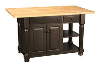 Turned Leg Kitchen Island | 2 Doors, 2 Drawers, 1 Open Shelf, 1 Adjustable Shelf. Reverse Configuration Available. Shown with hard maple butcher block top and optional reeded leg upgrade. | Brown Maple in Black Paint | 49in W x 24 1/2in D x 34 1/2in H | The Amish Home | Amish Furniture at the Pittsburgh Mills