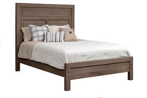 Glendale Chevron Bed | With chevron plank detail. | Rustic Quartersawn White Oak in Barnwood SP-10 | Headboard 55in H, footboard 25in H | The Amish Home | Amish Furniture at the Pittsburgh Mills