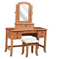 Bunker Hill Dressing Table | Oak in Fruitwood OCS102 | 50in W x 20in D x 30 1/2in H | The Amish Home | Amish Furniture at the Pittsburgh Mills