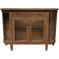 Soho Display Case | 1 adjustable shelf with plate groove behind each door, wood back, clear glass, LED touch light, no lock | Brown Maple in Cappuccino OCS119 | 60in W x 17 1/2in D x 40in H | The Amish Home | Amish Furniture at the Pittsburgh Mills