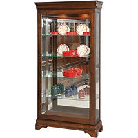 Louis Phillipe Large Sliding Door Picture Frame Curio | 4 adjustable shelves with plate groove, mirror back, clear glass, LED touch light, door slides left | Cherry in Boston OCS111 | 39 1/2in W x 13 3/4in D x 77in H | The Amish Home | Amish Furniture at the Pittsburgh Mills