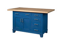 Bridgeport Kitchen Island | 2 Doors, 5 Drawers, 1 Adjustable Shelf. Shown with hard maple breadboard top. | Brown Maple in Blue Paint | 47 1/4in W x 24in D x 34 1/2in H | The Amish Home | Amish Furniture at the Pittsburgh Mills