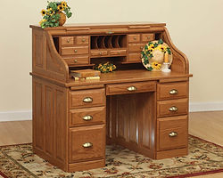Traditional Roll Top Desk|Oak in Fruitwood OCS102|50in W x 30in D x 47 1/2in H|The Amish Home|Amish Furniture at the Pittsburgh Mills