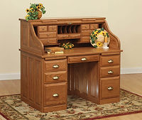 David's Traditional 50in Roll Top Desk | Oak in Fruitwood OCS102 | 50in W x 30in D x 47 1/2in H | The Amish Home | Amish Furniture at the Pittsburgh Mills