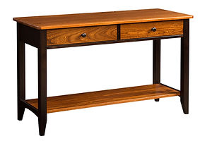 Denmark Sofa Table|Elm & Brown Maple in Two-toned|48in W x 18in D x 29in H|The Amish Home|Amish Furniture at the Pittsburgh Mills