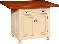 Oceanside Kitchen Island | 2 Doors, 1 Drawer, 1 Adjustable Shelf. Shown with plank glued top. | Brown Maple in Country White Paint | 33 1/4in W x 24 1/2in D x 34 1/2in H | The Amish Home | Amish Furniture at the Pittsburgh Mills
