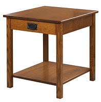 Nelson's Economy Mission End Table | Rustic Quartersawn White Oak in Michaels OCS113 | 22in W x 24in D x 24in H | The Amish Home | Amish Furniture at the Pittsburgh Mills