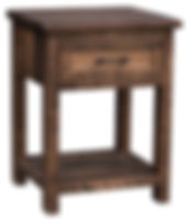 Denali Nightstand Basic - with 1 Drawer and Open Shelf | One inset drawer with flat panel front and open bottom shelf. | Brown Maple (Circular Sawn) in Almond FC-4200 | 22 1/4in W x 19in D x 30in H | The Amish Home | Amish Furniture at the Pittsburgh Mills