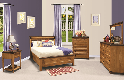 Farmhouse Heritage Bedroom Furniture Collection|Farmhouse Heritage Bed with Footboard Storage Drawers, Tall dresser and Mirror, Open Nightstand, Chest of Drawers|Solid Reclaimed Barn Oak and Rustic Cherry in Two-Tone Finish|The Amish Home|Amish Furniture at the Pittsburgh Mills