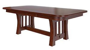 Curved Mission Trestle Table | Shown with square round top, round over edge. Available with butterfly leaf. | Brown Maple in Michaels OCS113 | Many Sizes Available | The Amish Home | Amish Furniture at the Pittsburgh Mills