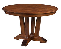 Harper Single Pedestal Table | Shown with round top, beveled edge. Available with butterfly leaf. | Brown Maple in Michaels OCS113 | Many Sizes Available | The Amish Home | Amish Furniture at the Pittsburgh Mills