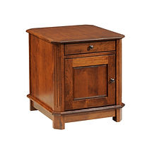 Franchi Enclosed End Table | Fluted beveled leg styling.  One flush inset drawer, one flat panel door, enclosed sides. | Rustic Cherry in Boston OCS111 | 22in W x 24in D x 24in H | The Amish Home | Amish Furniture at the Pittsburgh Mills
