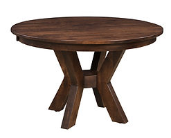 Bradley Single Pedestal Table | Shown with round top, eased edge. Available with butterfly leaf. | Brown Maple in Rich Tobacco OCS228 | Many Sizes Available | The Amish Home | Amish Furniture at the Pittsburgh Mills