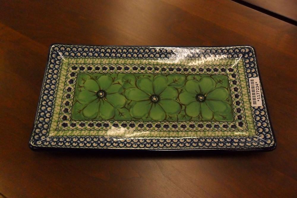 "Sushi Tray 12"" - Green Cosmo Pattern - Ceramika Artystyczna Bolesławiec Polish Pottery - The Amish Home - Galleria at Pittsburgh Mills Amish Furniture"