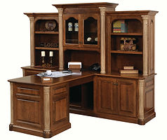 Jefferson Partner Desk with optional hutch | Available with contrasting columns in stone finish | Cherry in Chocolate Spice FC-9090 | 100in W x 74in D x 79 1/2in H | The Amish Home | Amish Furniture at the Pittsburgh Mills