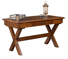 Beckman Writing Table with optional leather inlay   Cherry in Medium OCS110   54in W x 28in D x 30 1/2in H   The Amish Home   Amish Furniture at the Pittsburgh Mills