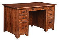 Cherry Valley Junior Executive Desk | Rustic Cherry in Michaels OCS113 | 72in W x 30in D x 30in H | The Amish Home | Amish Furniture at the Pittsburgh Mills
