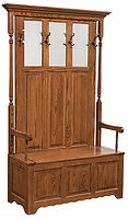 Hall Seat|Oak in Medium OCS110|46 1/2in W x 18in D x 72in H|The Amish Home|Amish Furniture at the Pittsburgh Mills