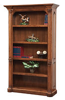 Jefferson Bookcase | Available with contrasting columns in stone finish | Cherry in Chocolate Spice FC-9090 | 48in W x 16 1/2in D x 79 1/2in H | The Amish Home | Amish Furniture at the Pittsburgh Mills