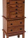 Split Mission Jewelry Armoire|Oak in Boston OCS111|18 1/2in W x 13in D x 48in H|The Amish Home|Amish Furniture at the Pittsburgh Mills