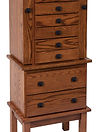 Split Mission Jewelry Armoire Oak in Boston OCS111 18 1/2in W x 13in D x 48in H The Amish Home Amish Furniture at the Pittsburgh Mills