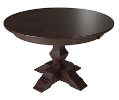 Jessica Single Pedestal Table | Shown with round top, eased edge. Available with butterfly leaf. | Rustic Quartersawn White Oak in Onyx OCS230 | Many Sizes Available | The Amish Home | Amish Furniture at the Pittsburgh Mills