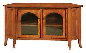 Bunker Hill Corner TV Stand|Quartersawn White Oak in Michaels OCS113|55 1/4in W x 20in D x 30in H, 39 1/2in wall space|The Amish Home|Amish Furniture at the Pittsburgh Mills